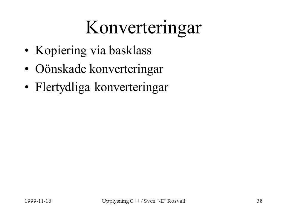 1999-11-16Upplysning C++ / Sven -E Rosvall38 Konverteringar Kopiering via basklass Oönskade konverteringar Flertydliga konverteringar