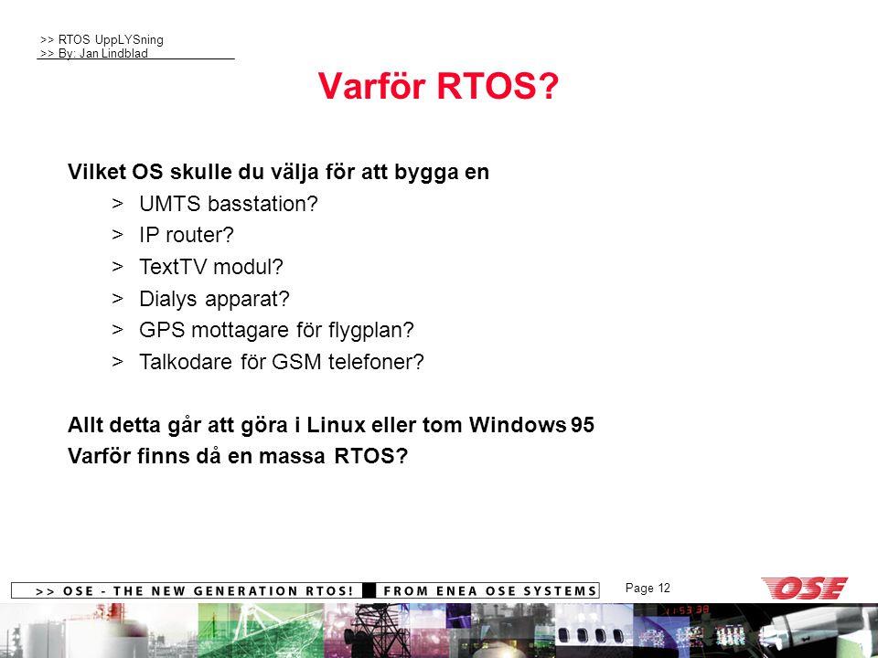 >> RTOS UppLYSning >> By: Jan Lindblad Page 12 Varför RTOS? Vilket OS skulle du välja för att bygga en >UMTS basstation? >IP router? >TextTV modul? >D