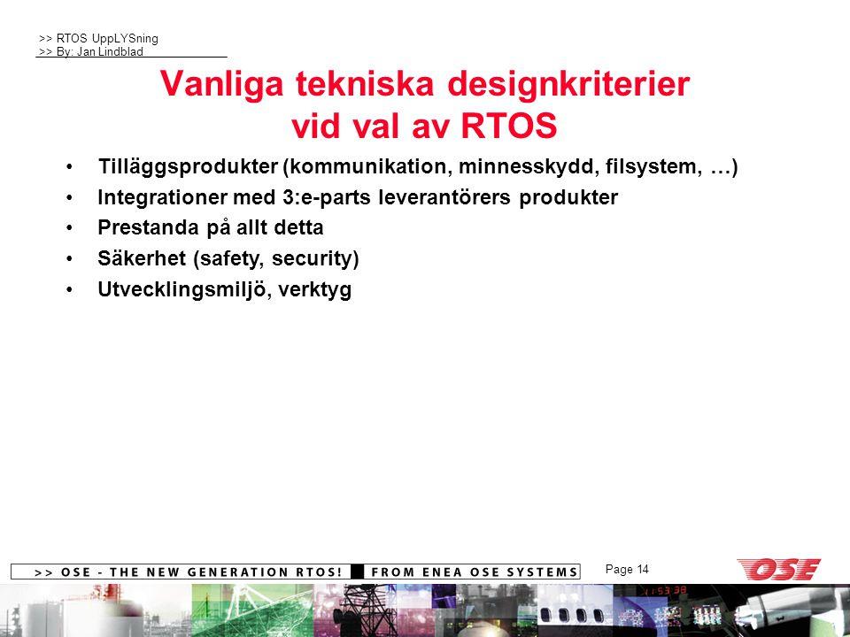 >> RTOS UppLYSning >> By: Jan Lindblad Page 14 Vanliga tekniska designkriterier vid val av RTOS Tilläggsprodukter (kommunikation, minnesskydd, filsystem, …) Integrationer med 3:e-parts leverantörers produkter Prestanda på allt detta Säkerhet (safety, security) Utvecklingsmiljö, verktyg
