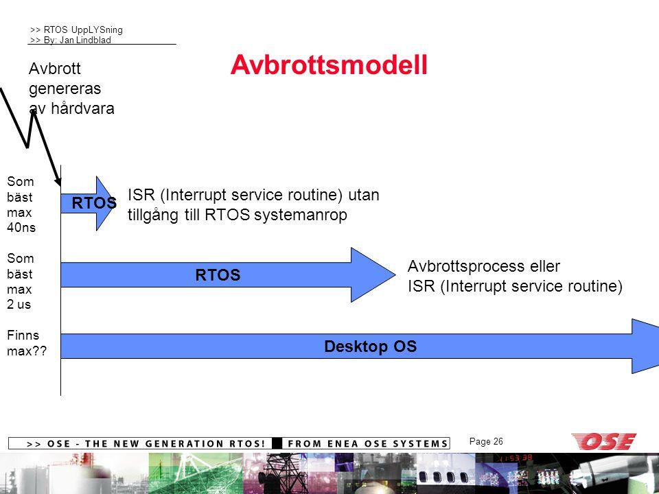 >> RTOS UppLYSning >> By: Jan Lindblad Page 26 Avbrottsmodell RTOS Desktop OS Avbrottsprocess eller ISR (Interrupt service routine) Avbrott genereras av hårdvara ISR (Interrupt service routine) utan tillgång till RTOS systemanrop RTOS Som bäst max 40ns Som bäst max 2 us Finns max??