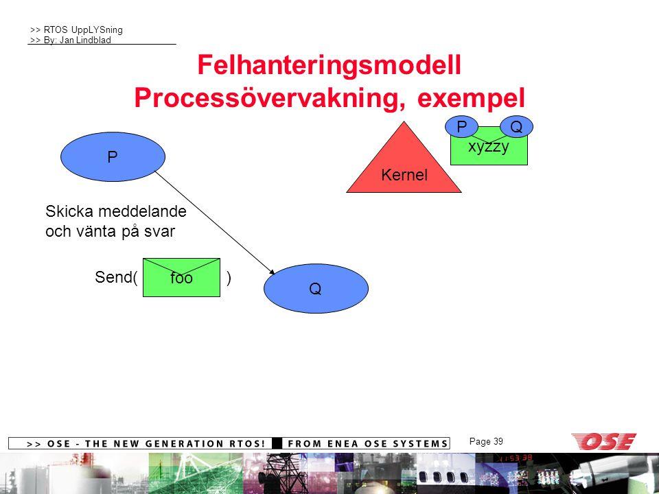 >> RTOS UppLYSning >> By: Jan Lindblad Page 39 Send( ) Felhanteringsmodell Processövervakning, exempel P Q foo Kernel xyzzy PQ Skicka meddelande och vänta på svar