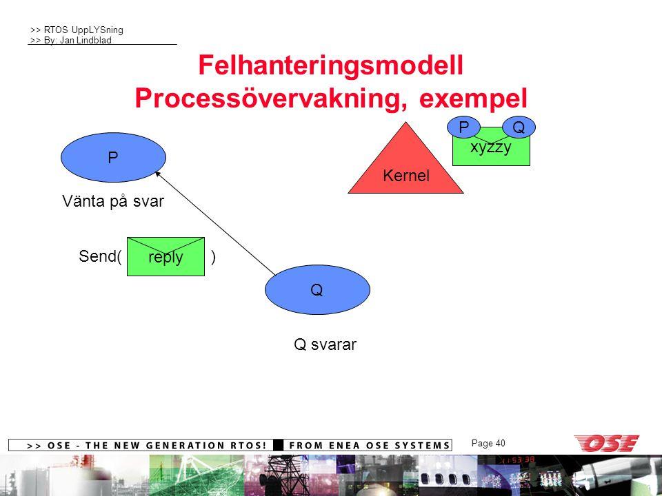 >> RTOS UppLYSning >> By: Jan Lindblad Page 40 xyzzy PQ Felhanteringsmodell Processövervakning, exempel P Q Send( ) reply Kernel Vänta på svar Q svarar