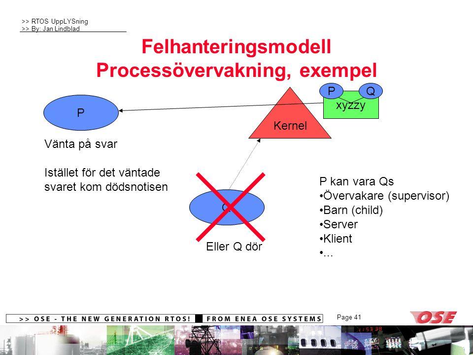 >> RTOS UppLYSning >> By: Jan Lindblad Page 41 xyzzy PQ Felhanteringsmodell Processövervakning, exempel P Q Kernel Vänta på svar Istället för det väntade svaret kom dödsnotisen P kan vara Qs Övervakare (supervisor) Barn (child) Server Klient...