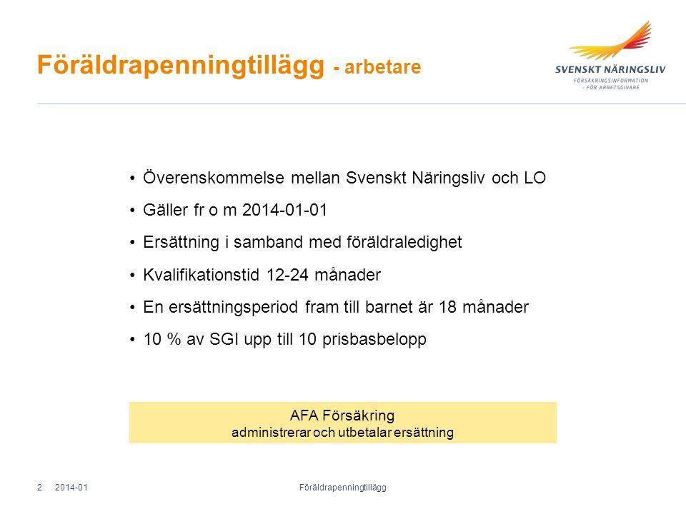 Föräldrapenningtillägg - arbetare Överenskommelse mellan Svenskt Näringsliv och LO Gäller fr o m 2014-01-01 Ersättning i samband med föräldraledighet