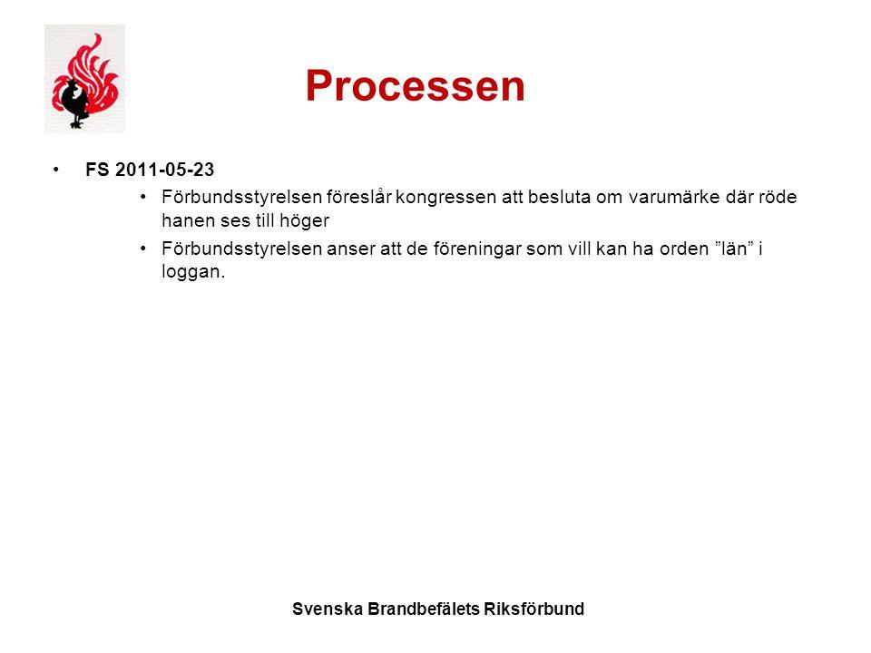 Processen FS 2011-05-23 Förbundsstyrelsen föreslår kongressen att besluta om varumärke där röde hanen ses till höger Förbundsstyrelsen anser att de föreningar som vill kan ha orden län i loggan.