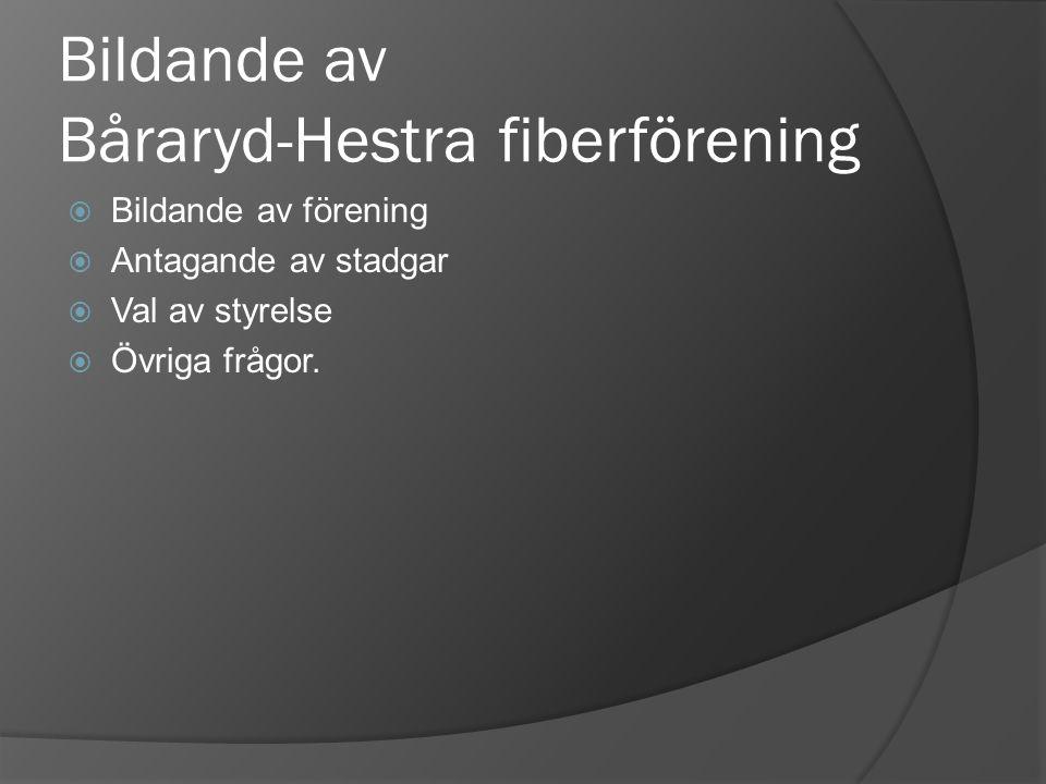 Bildande av Båraryd-Hestra fiberförening  Bildande av förening  Antagande av stadgar  Val av styrelse  Övriga frågor.