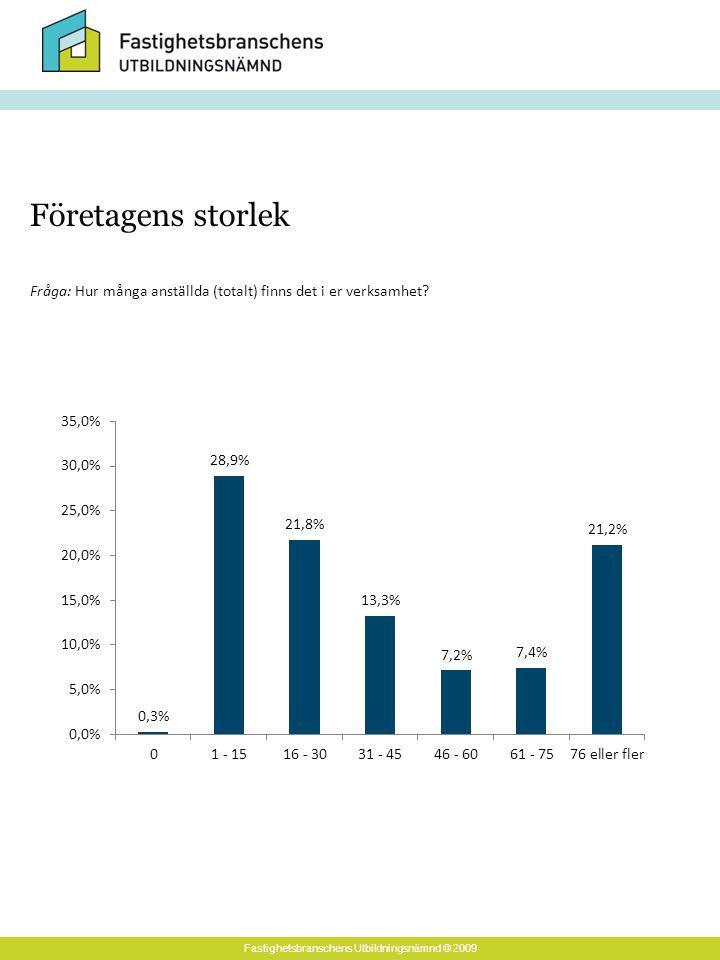 Fastighetsbranschens Utbildningsnämnd © 2009 Företagens storlek Fråga: Hur många anställda (totalt) finns det i er verksamhet