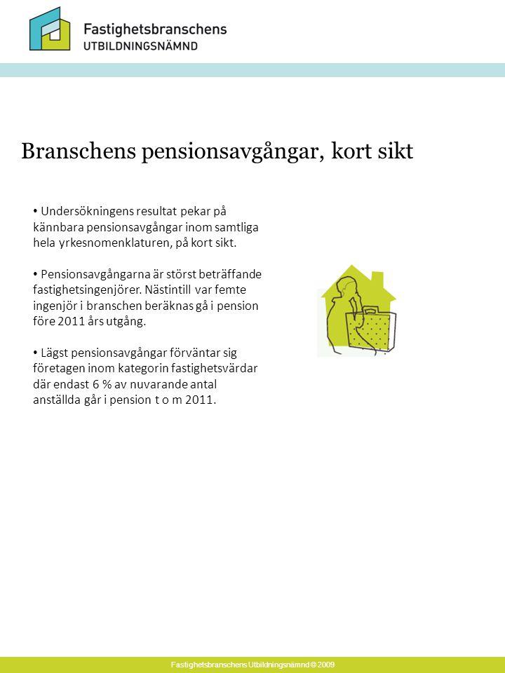 Fastighetsbranschens Utbildningsnämnd © 2009 Undersökningens resultat pekar på kännbara pensionsavgångar inom samtliga hela yrkesnomenklaturen, på kort sikt.
