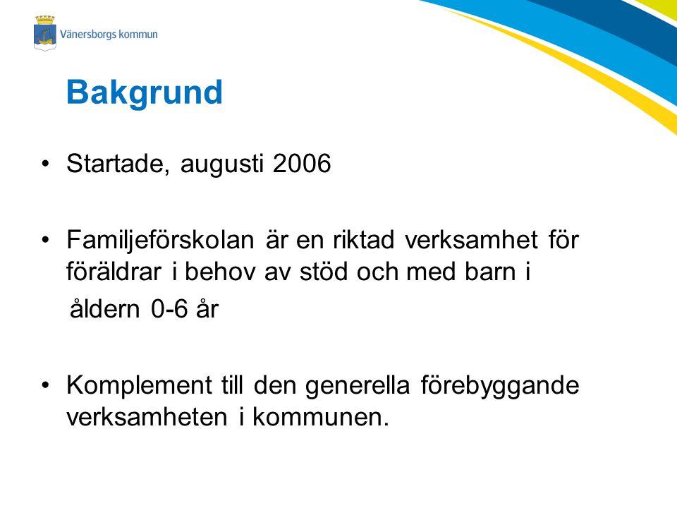 Bakgrund Startade, augusti 2006 Familjeförskolan är en riktad verksamhet för föräldrar i behov av stöd och med barn i åldern 0-6 år Komplement till de