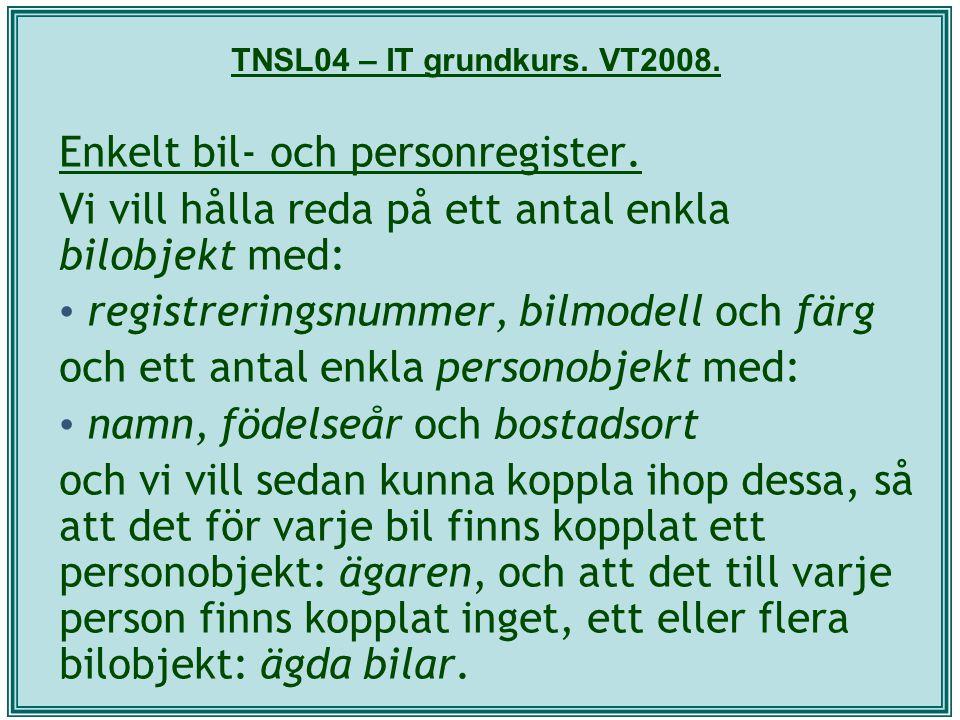 TNSL04 – IT grundkurs. VT2008. Enkelt bil- och personregister. Vi vill hålla reda på ett antal enkla bilobjekt med: registreringsnummer, bilmodell och