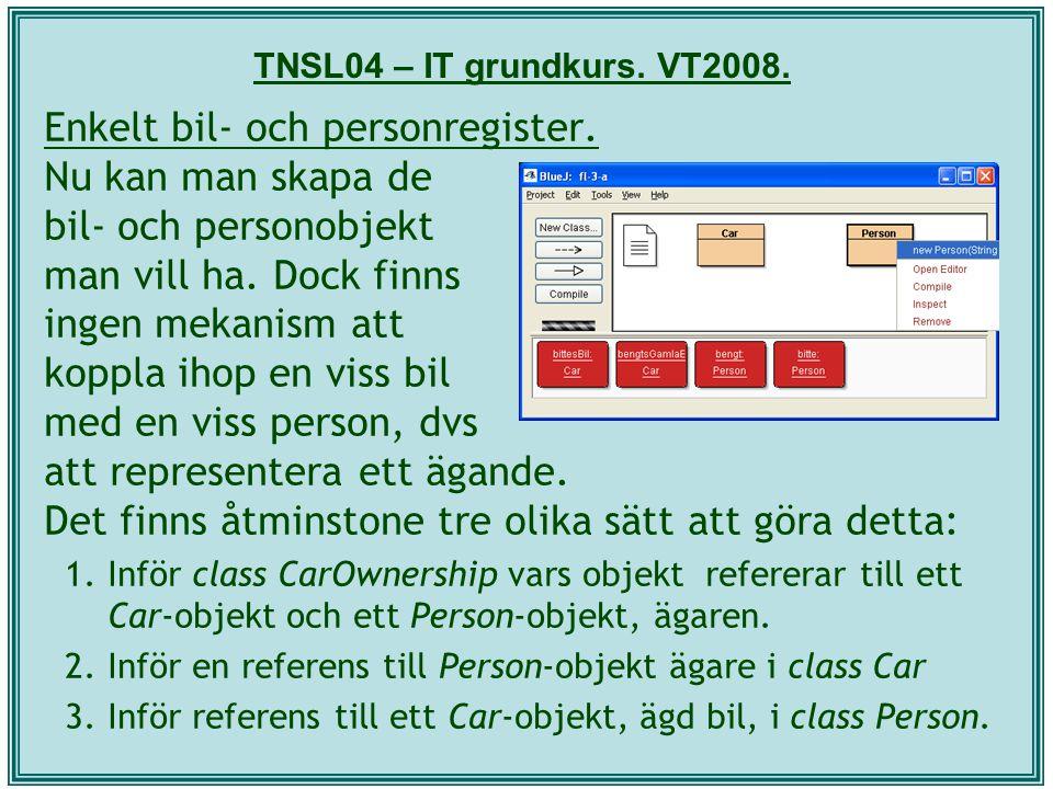 TNSL04 – IT grundkurs. VT2008. Enkelt bil- och personregister. Nu kan man skapa de bil- och personobjekt man vill ha. Dock finns ingen mekanism att ko