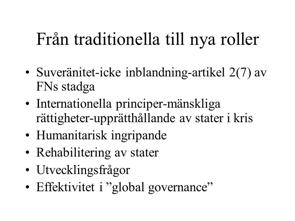 Från traditionella till nya roller Suveränitet-icke inblandning-artikel 2(7) av FNs stadga Internationella principer-mänskliga rättigheter-upprätthållande av stater i kris Humanitarisk ingripande Rehabilitering av stater Utvecklingsfrågor Effektivitet i global governance