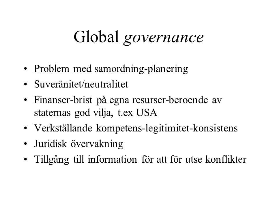 Global governance Problem med samordning-planering Suveränitet/neutralitet Finanser-brist på egna resurser-beroende av staternas god vilja, t.ex USA Verkställande kompetens-legitimitet-konsistens Juridisk övervakning Tillgång till information för att för utse konflikter