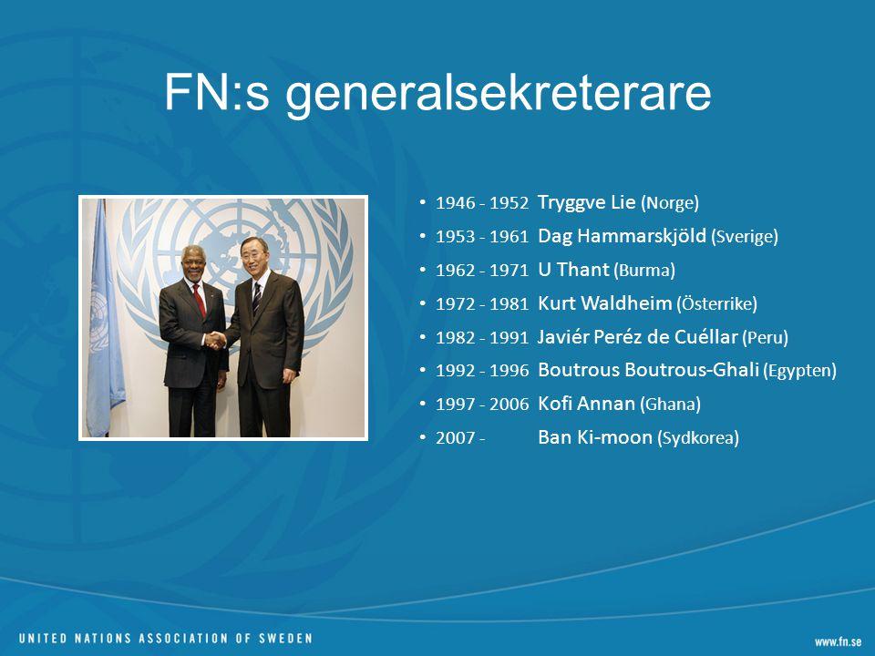 FN:s tre pelare Fred, säkerhet och nedrustning Utveckling och fattigdomsbekämpning Mänskliga rättigheter