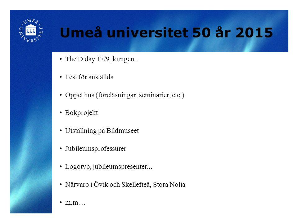 Umeå universitet 50 år 2015 The D day 17/9, kungen...