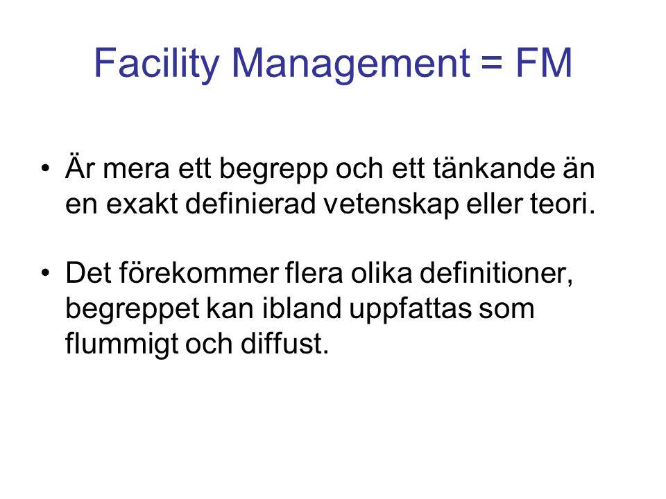Facility Management = FM Är mera ett begrepp och ett tänkande än en exakt definierad vetenskap eller teori. Det förekommer flera olika definitioner, b
