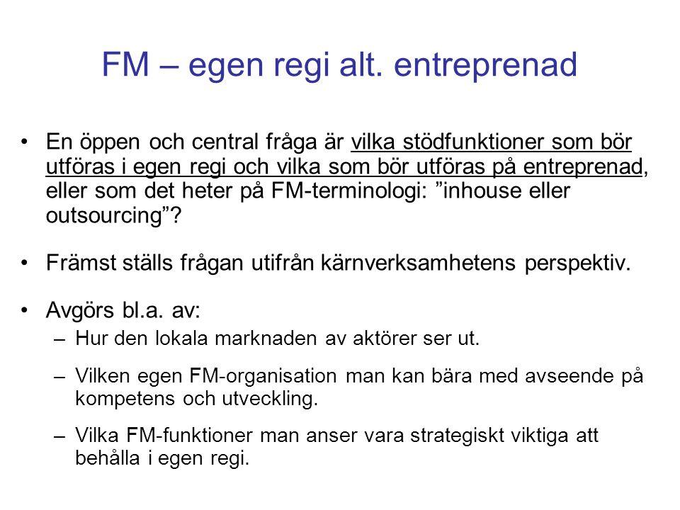 FM – egen regi alt. entreprenad En öppen och central fråga är vilka stödfunktioner som bör utföras i egen regi och vilka som bör utföras på entreprena