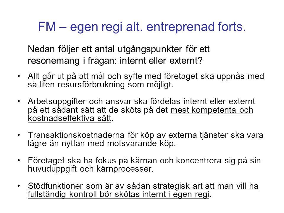 FM – egen regi alt. entreprenad forts. Nedan följer ett antal utgångspunkter för ett resonemang i frågan: internt eller externt? Allt går ut på att må
