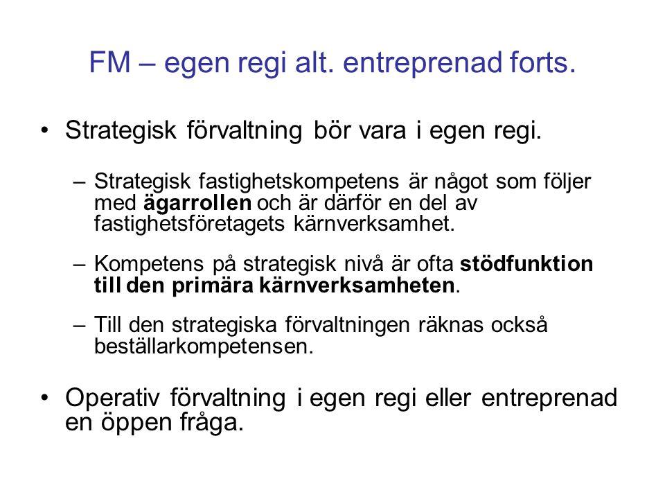 FM – egen regi alt. entreprenad forts. Strategisk förvaltning bör vara i egen regi. –Strategisk fastighetskompetens är något som följer med ägarrollen