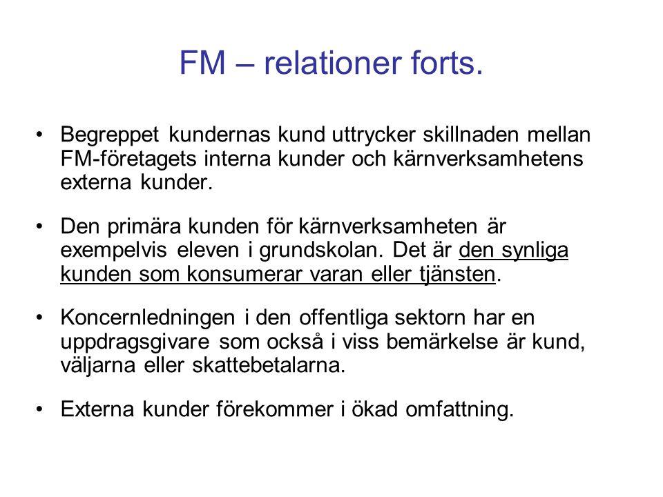 FM – relationer forts. Begreppet kundernas kund uttrycker skillnaden mellan FM-företagets interna kunder och kärnverksamhetens externa kunder. Den pri