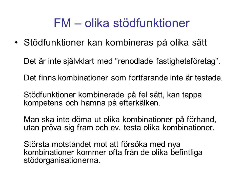 """FM – olika stödfunktioner Stödfunktioner kan kombineras på olika sätt Det är inte självklart med """"renodlade fastighetsföretag"""". Det finns kombinatione"""