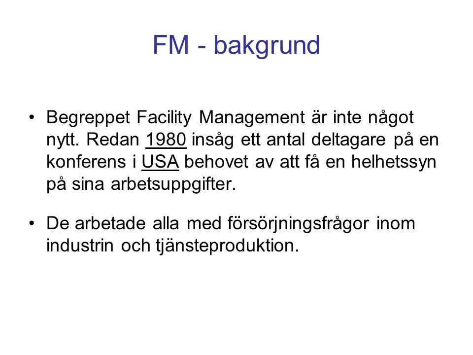 FM - bakgrund Begreppet Facility Management är inte något nytt. Redan 1980 insåg ett antal deltagare på en konferens i USA behovet av att få en helhet