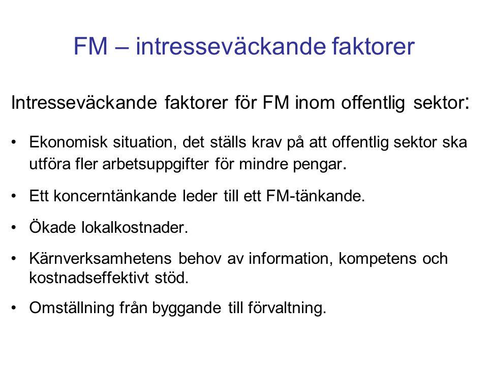FM – intresseväckande faktorer Intresseväckande faktorer för FM inom offentlig sektor : Ekonomisk situation, det ställs krav på att offentlig sektor s