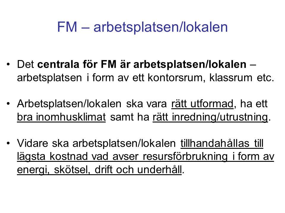 FM – arbetsplatsen/lokalen Det centrala för FM är arbetsplatsen/lokalen – arbetsplatsen i form av ett kontorsrum, klassrum etc. Arbetsplatsen/lokalen