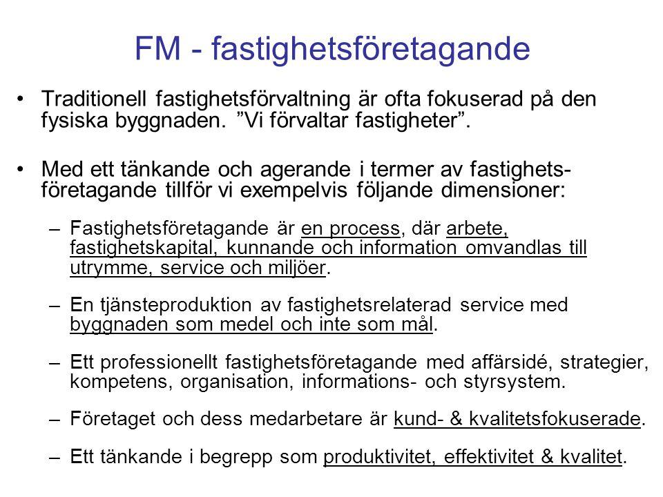 """FM - fastighetsföretagande Traditionell fastighetsförvaltning är ofta fokuserad på den fysiska byggnaden. """"Vi förvaltar fastigheter"""". Med ett tänkande"""