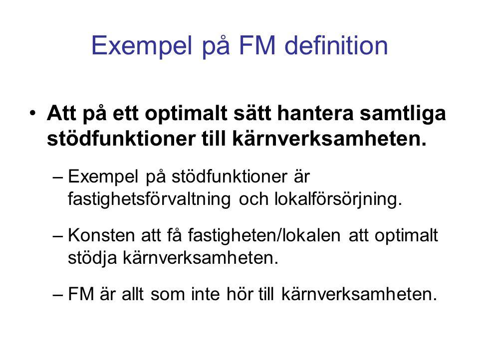 Exempel på FM definition Att på ett optimalt sätt hantera samtliga stödfunktioner till kärnverksamheten. –Exempel på stödfunktioner är fastighetsförva