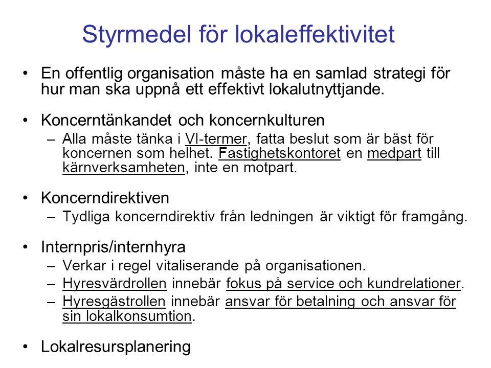 Styrmedel för lokaleffektivitet En offentlig organisation måste ha en samlad strategi för hur man ska uppnå ett effektivt lokalutnyttjande. Koncerntän