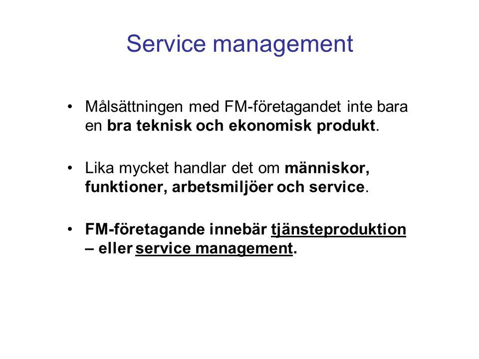 Service management Målsättningen med FM-företagandet inte bara en bra teknisk och ekonomisk produkt. Lika mycket handlar det om människor, funktioner,