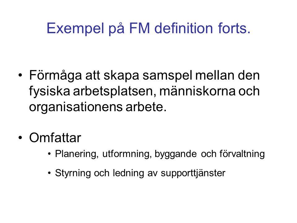 Exempel på FM definition forts. Förmåga att skapa samspel mellan den fysiska arbetsplatsen, människorna och organisationens arbete. Omfattar Planering