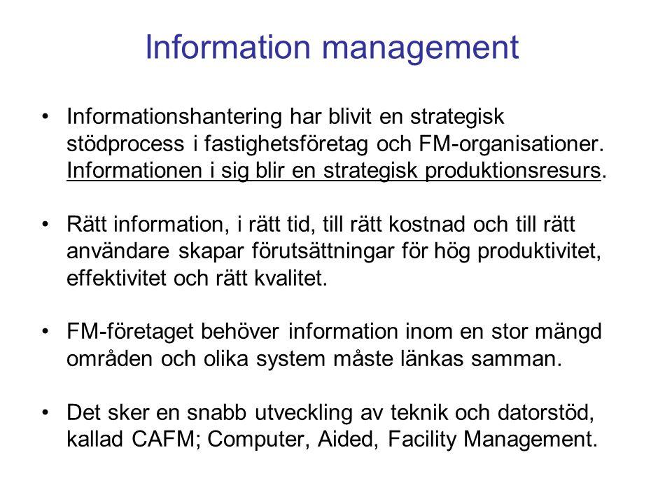 Informationshantering har blivit en strategisk stödprocess i fastighetsföretag och FM-organisationer. Informationen i sig blir en strategisk produktio