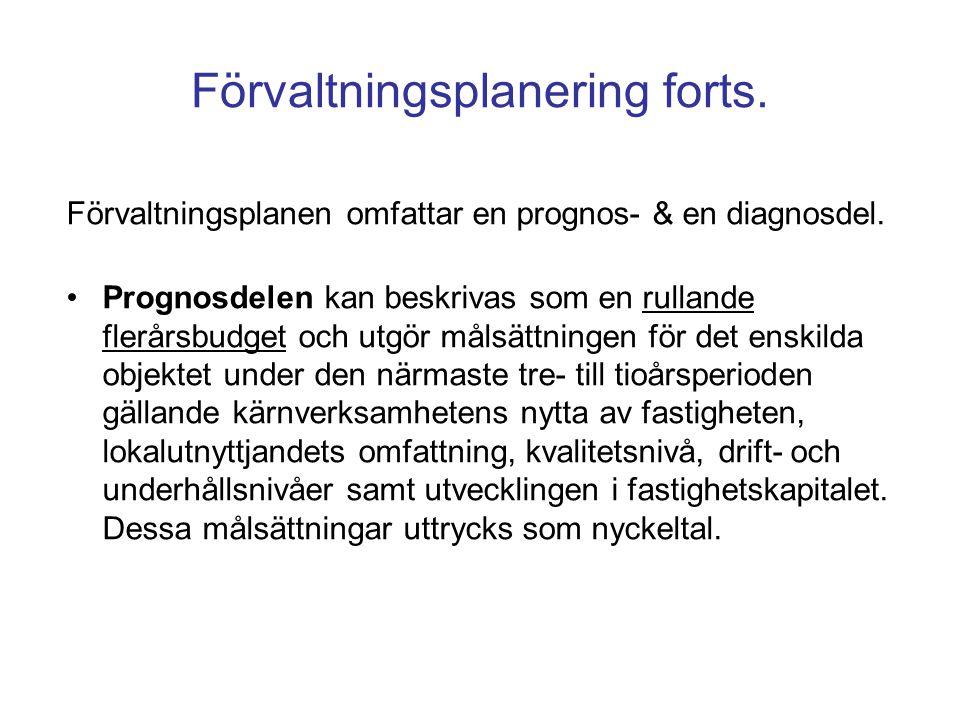 Förvaltningsplanen omfattar en prognos- & en diagnosdel. Prognosdelen kan beskrivas som en rullande flerårsbudget och utgör målsättningen för det ensk