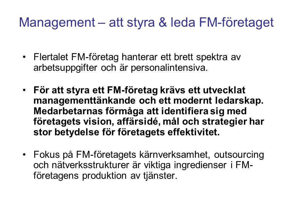 Management – att styra & leda FM-företaget Flertalet FM-företag hanterar ett brett spektra av arbetsuppgifter och är personalintensiva. För att styra