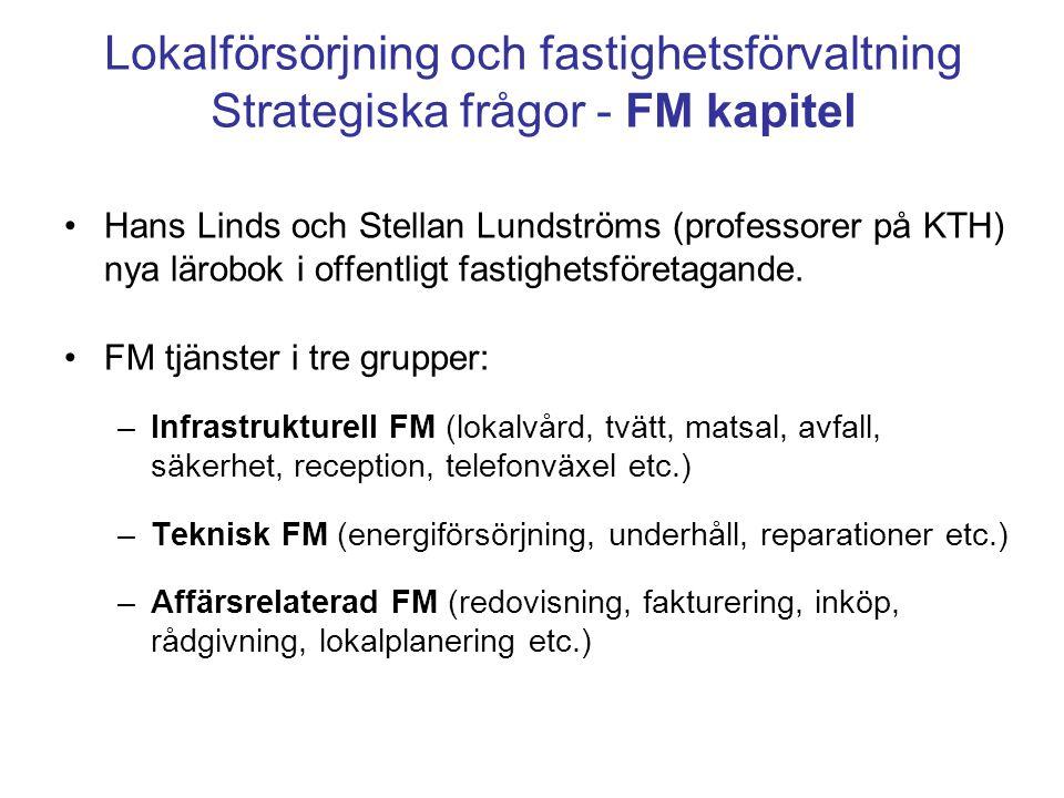 Lokalförsörjning och fastighetsförvaltning Strategiska frågor - FM kapitel Hans Linds och Stellan Lundströms (professorer på KTH) nya lärobok i offent