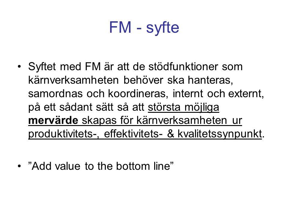 FM - syfte Syftet med FM är att de stödfunktioner som kärnverksamheten behöver ska hanteras, samordnas och koordineras, internt och externt, på ett så