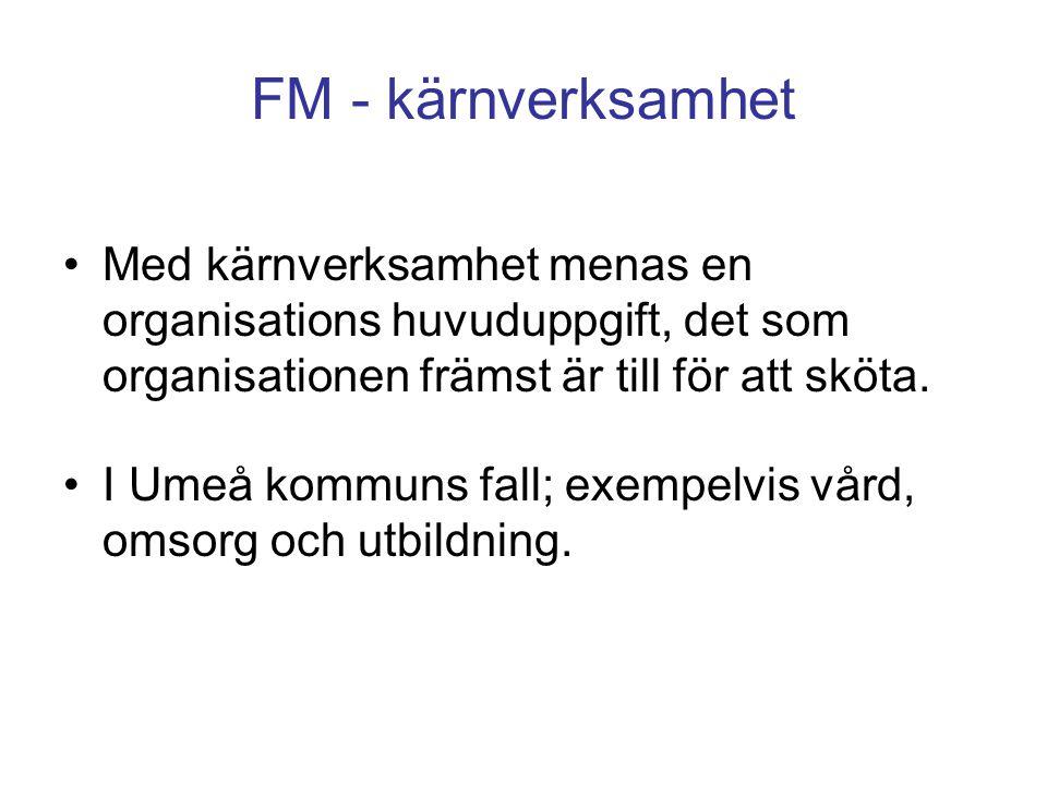 FM - kärnverksamhet Med kärnverksamhet menas en organisations huvuduppgift, det som organisationen främst är till för att sköta. I Umeå kommuns fall;