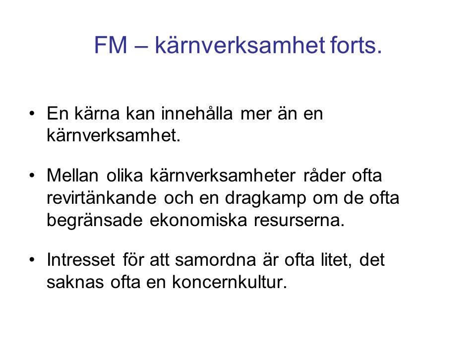 FM - stödfunktioner För att kärnverksamheten ska fungera behövs olika former av stödfunktioner.