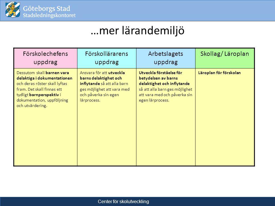 …mer lärandemiljö LäsaSkrivaRäkna 2012Center för skolutveckling Förskolechefens uppdrag Förskollärarens uppdrag Arbetslagets uppdrag Skollag/ Läroplan