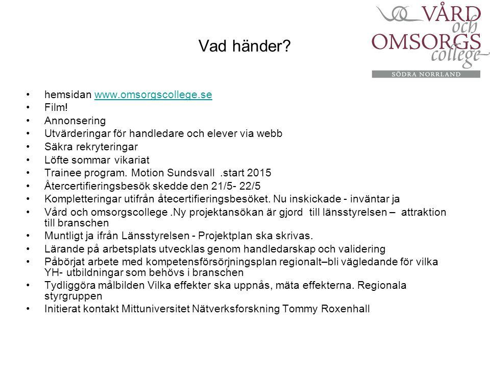 Vad händer? hemsidan www.omsorgscollege.sewww.omsorgscollege.se Film! Annonsering Utvärderingar för handledare och elever via webb Säkra rekryteringar