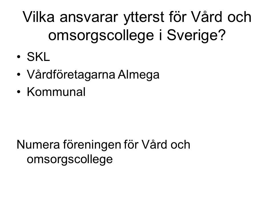 Vilka ansvarar ytterst för Vård och omsorgscollege i Sverige? SKL Vårdföretagarna Almega Kommunal Numera föreningen för Vård och omsorgscollege