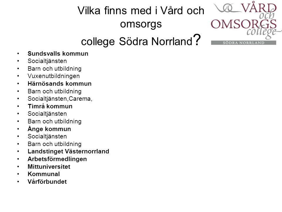 Vilka finns med i Vård och omsorgs college Södra Norrland ? Sundsvalls kommun Socialtjänsten Barn och utbildning Vuxenutbildningen Härnösands kommun B