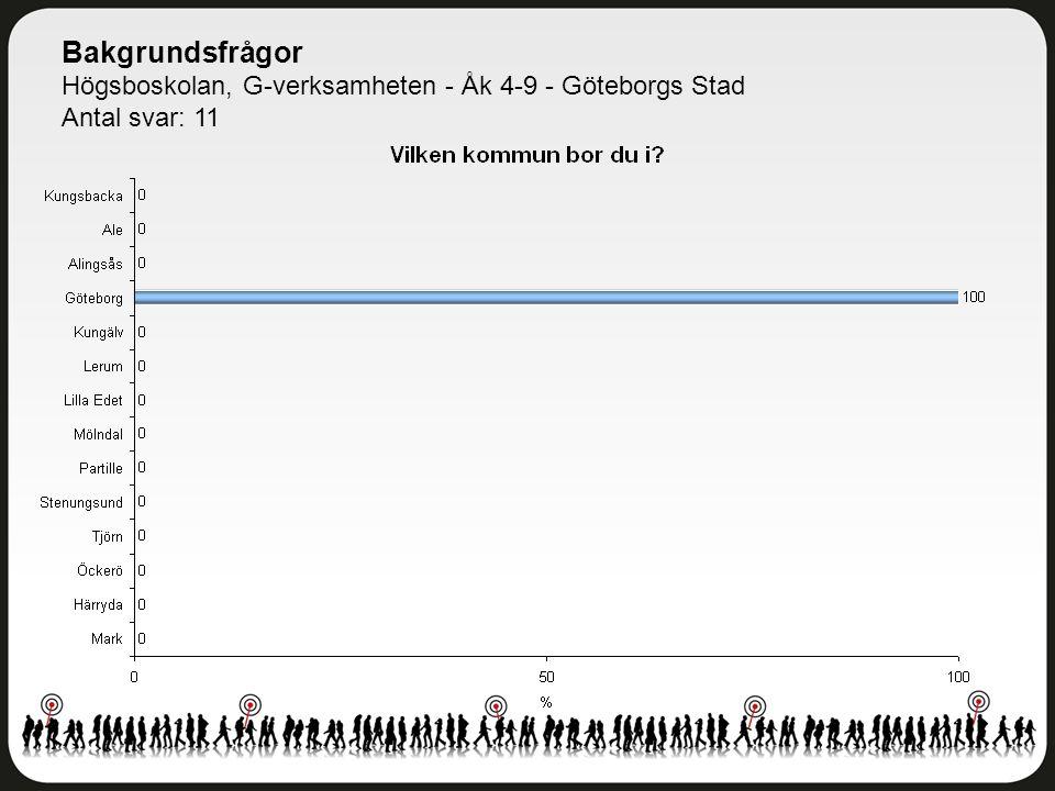 Bakgrundsfrågor Högsboskolan, G-verksamheten - Åk 4-9 - Göteborgs Stad Antal svar: 11