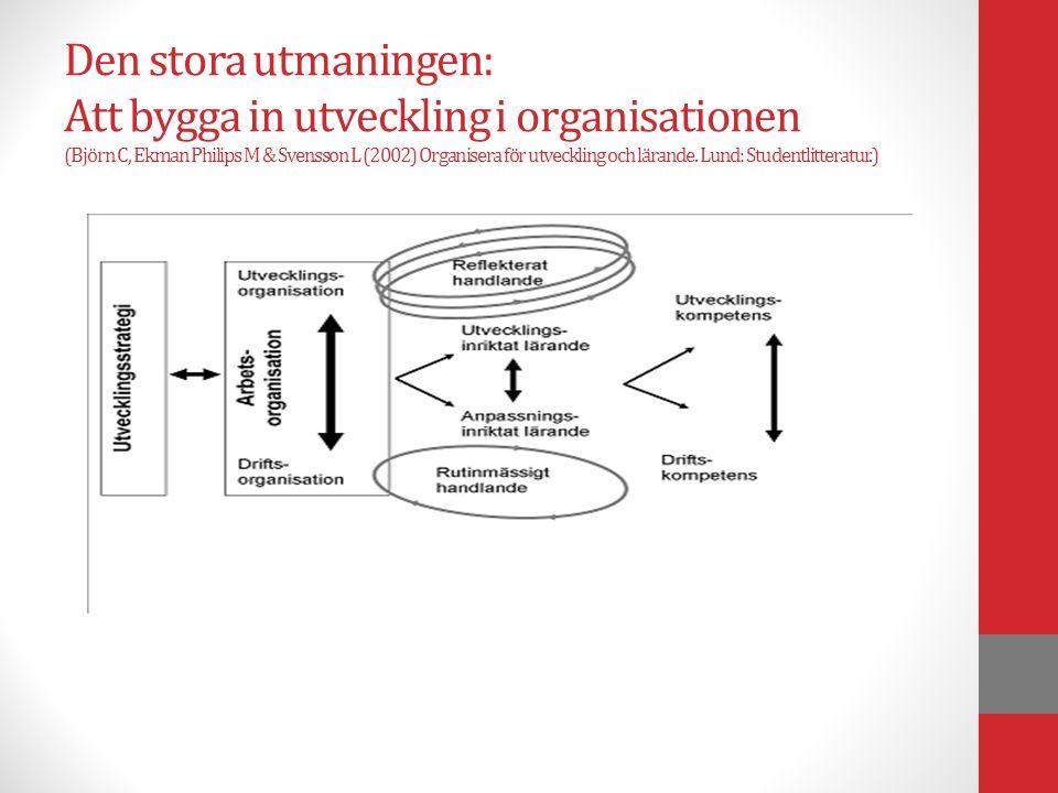 Den stora utmaningen: Att bygga in utveckling i organisationen (Björn C, Ekman Philips M & Svensson L (2002) Organisera för utveckling och lärande. Lu