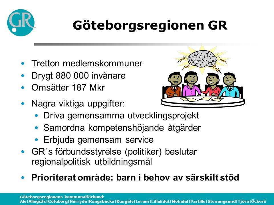 Göteborgsregionens kommunalförbund: Ale|Alingsås|Göteborg|Härryda|Kungsbacka|Kungälv|Lerum|LillaEdet|Mölndal|Partille|Stenungsund|Tjörn|Öckerö SkoldatateksNAV 2002 startade treårigt projekt i sex kommuner Kommunalförbundet GR´s Skoldatatek ett av dessa ( Boden, Uppsala, Norrköping, Södertälje och Västervik) Skoldatateksprojektet avslutades 2005 Ett Skoldatatek för 500 skolor och 10% av Sveriges elever ansågs inte möjligt att driva Nytt projekt 2007 GR – SkoldatateksNAV för Västra Sveriges Skoldatatek