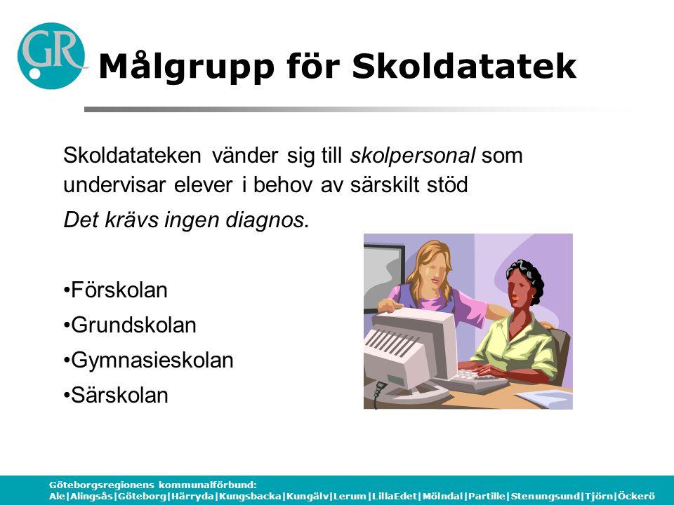 Göteborgsregionens kommunalförbund: Ale|Alingsås|Göteborg|Härryda|Kungsbacka|Kungälv|Lerum|LillaEdet|Mölndal|Partille|Stenungsund|Tjörn|Öckerö Kontaktpersoner GR Utbildning Gunilla Almgren BäckBjörn Ringholm 031-335 50 43031-335 50 49 0703-48 67 780705-35 49 34 gunilla.almgren-back @grkom.se bjorn.ringholm@grkom.se www.grkom.se/skoldatateksnav www.skoldatatek.se