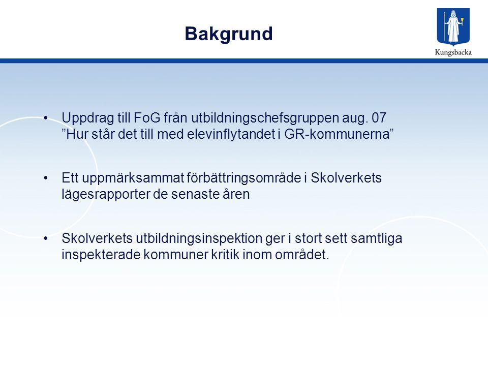 """Bakgrund Uppdrag till FoG från utbildningschefsgruppen aug. 07 """"Hur står det till med elevinflytandet i GR-kommunerna"""" Ett uppmärksammat förbättringso"""