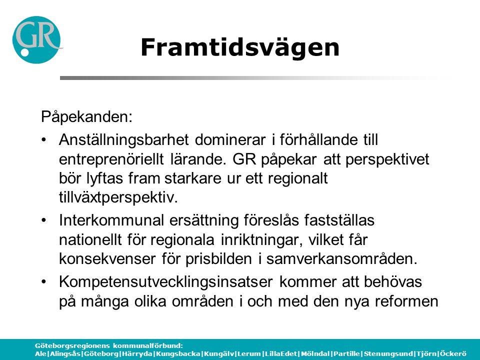 Göteborgsregionens kommunalförbund: Ale|Alingsås|Göteborg|Härryda|Kungsbacka|Kungälv|Lerum|LillaEdet|Mölndal|Partille|Stenungsund|Tjörn|Öckerö Framtid